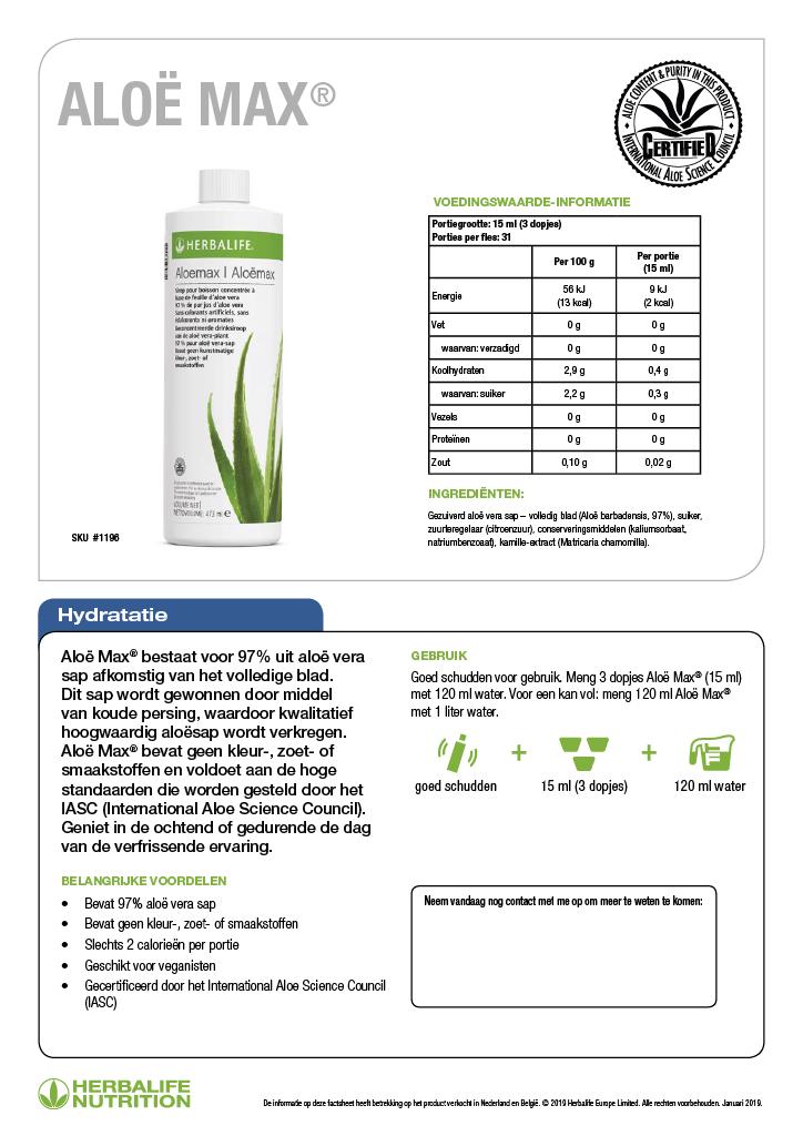 Ingredienten Herbal Aloë Max