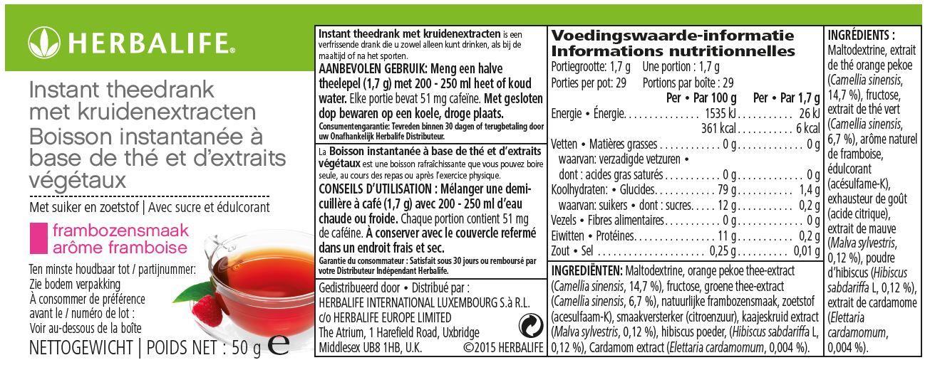 Herbalife Thee Framboos - 50 gram