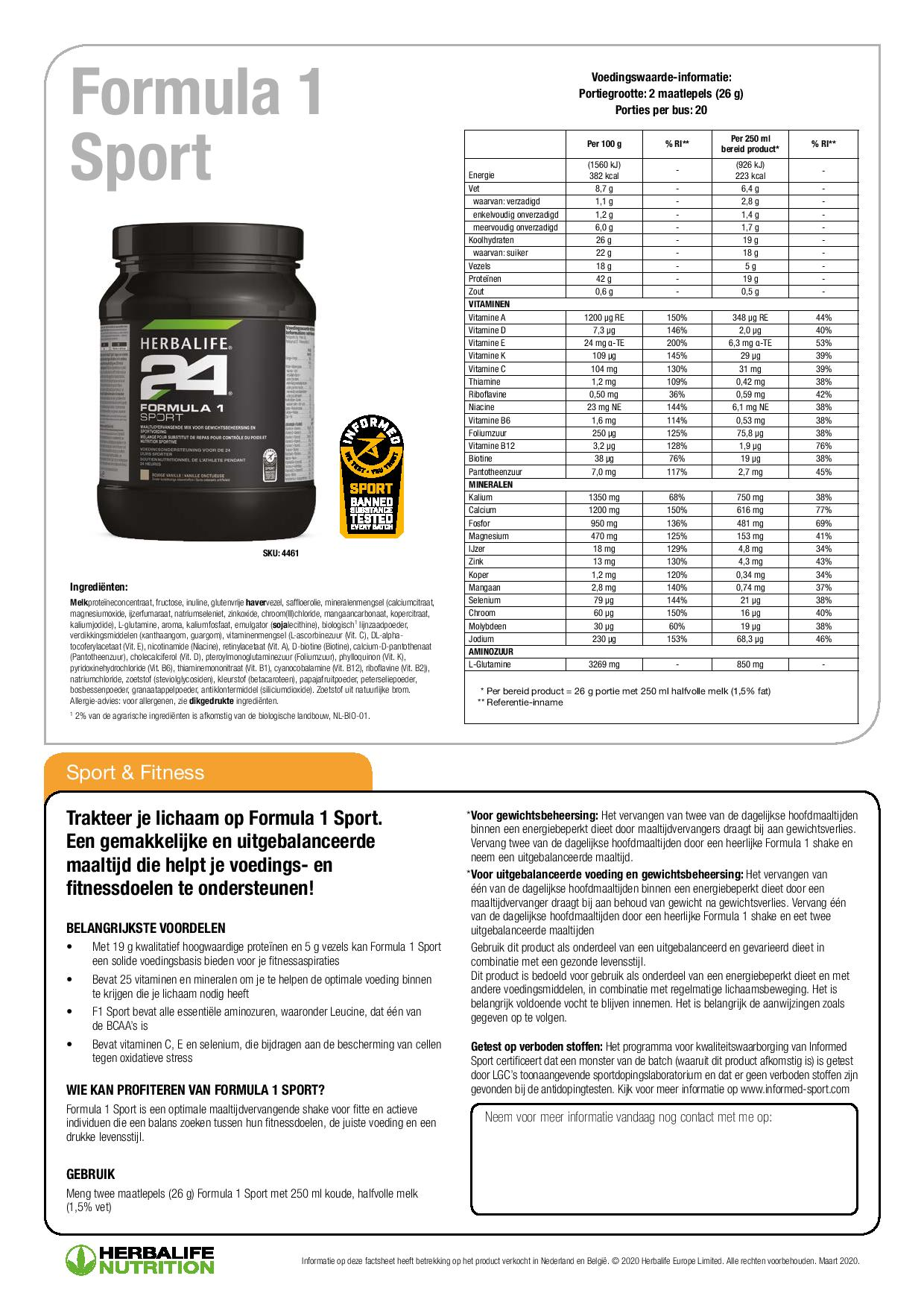 F1 Sport Ingredienten Herbalife