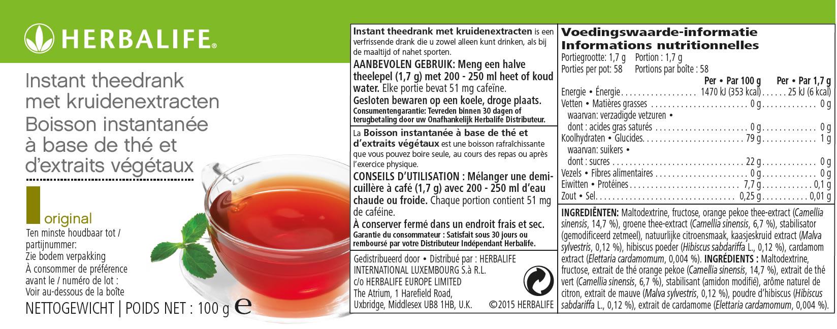 Herbalife Instant Theedrank Label