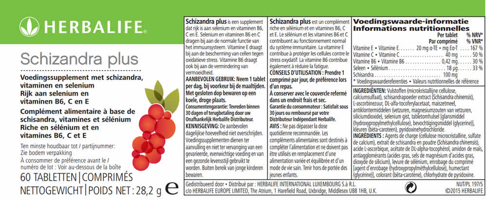Herbalife Schizandra Plus Label