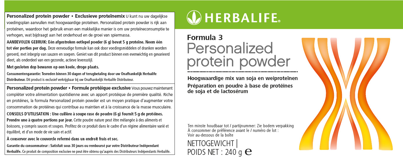 Formula 3 Personalized Protein Powder Label