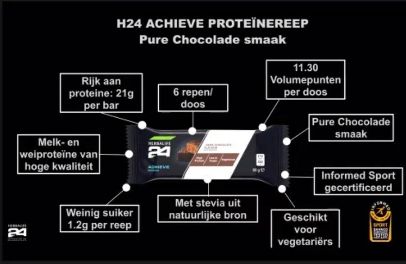 Herbalife 24 Achieve Proteine Reep Pure Chocolade Smaak