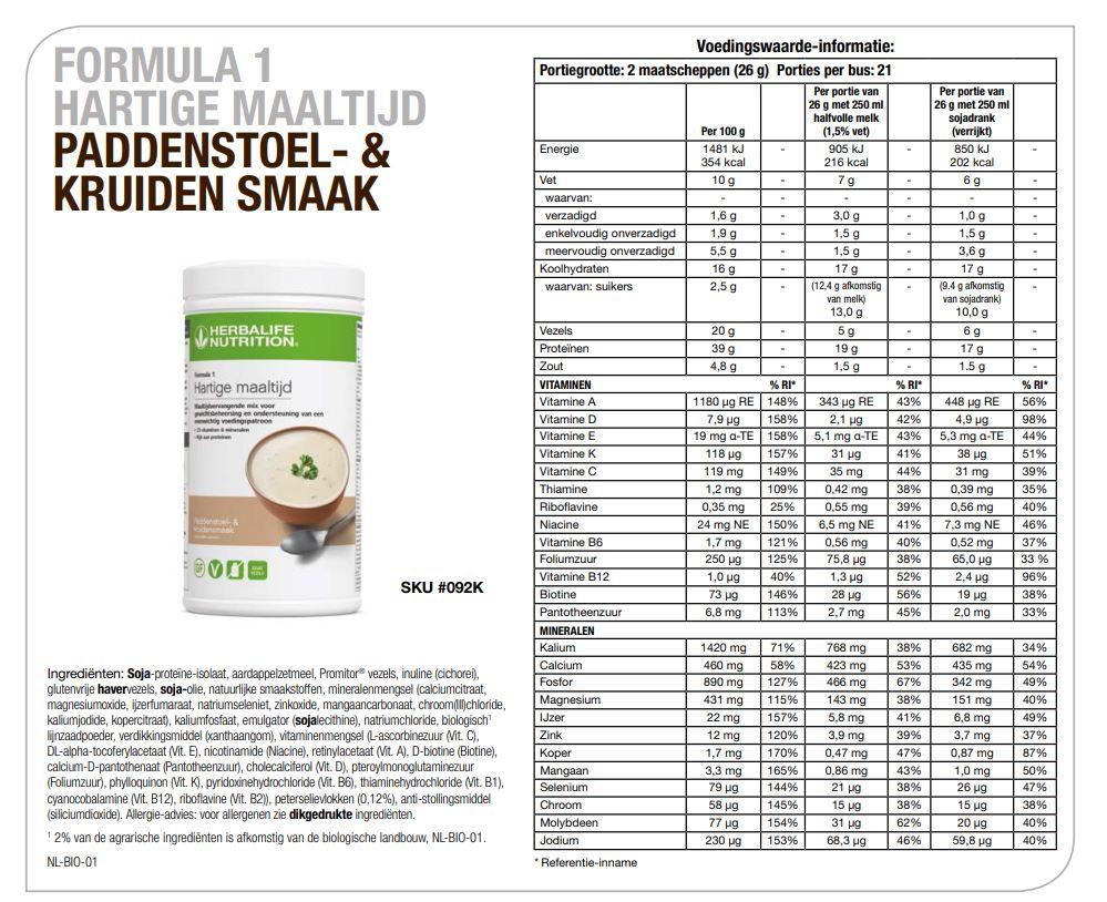 Herbalife Formula 1 Hartige maaltijd Paddenstoel- & Kruiden smaak Factsheet