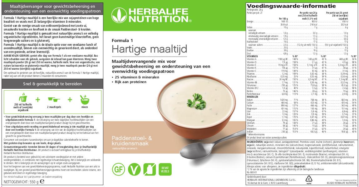 Herbalife Formula 1 Hartige maaltijd Paddenstoel- & Kruiden smaak