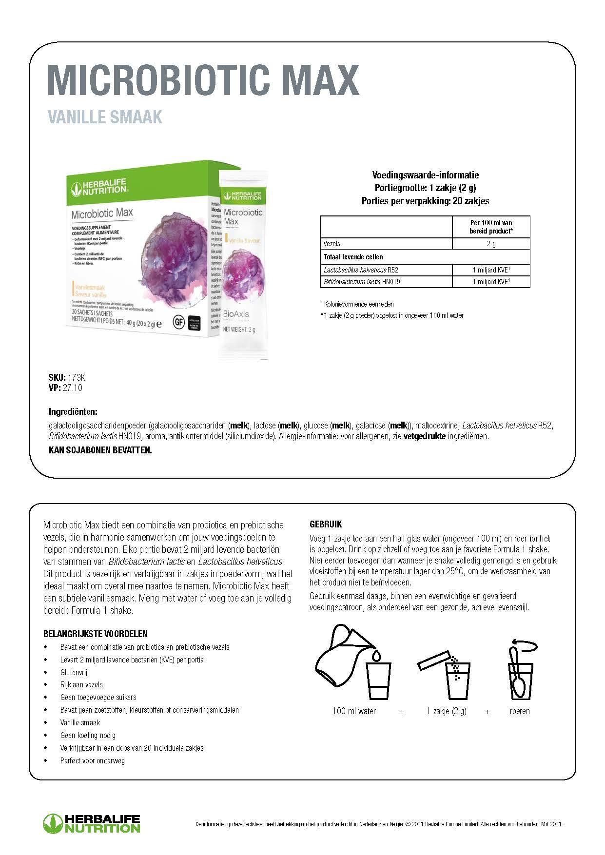 Ingredienten Microbiotic Max
