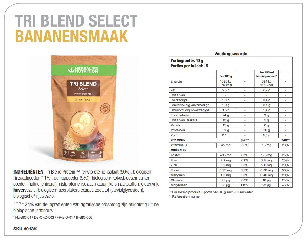 Ingredienten Herbalife TRI Blend Select